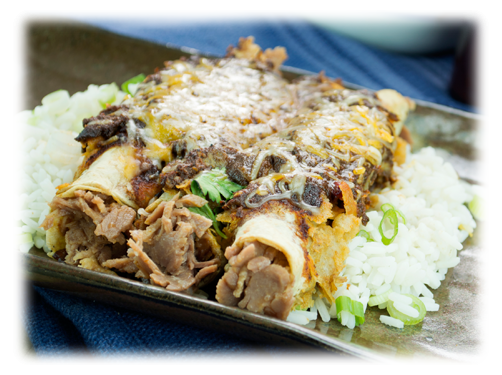 Red Chili Carnitas Enchiladas