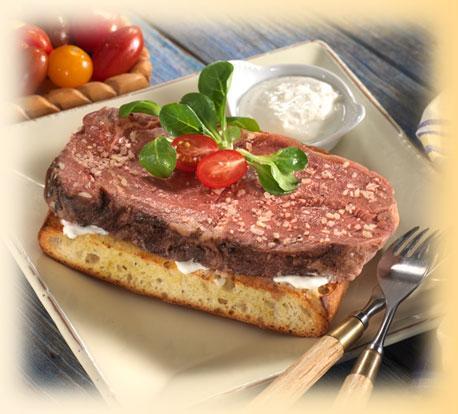Open Face Parmesan Prime Rib Sandwich