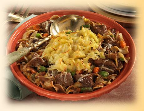 Beef and Parmesan Pasta Strata Casserole